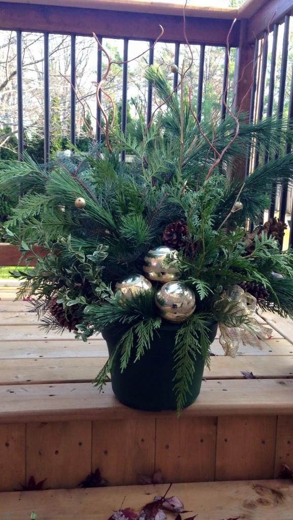 outdoor christmas flower pot arrangements